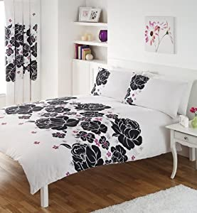 Black White Pink Print King Size Duvet Set With Matching Curtains Kitchen Home