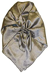 Wyoming Traders Solid Jacquard 100% Silk Cowboy Buckaroo Scarves (Silver)