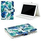 JAVOedge Watercolor Flower Universal 7-8 Book Case for the iPad Mini, Samsung Tab, Nexus 7, Nook HD (Blue)