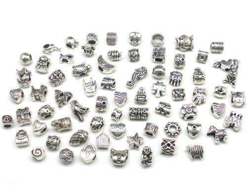 Nambeads © 50 x Mixed Tibetan Silver Charms beads to fit Pandora style charm bracelets.Slide on/off-Hole is 5mm. Check out our affordable bulk packs of glass beads,charms,clip stops,rhinestones,enamels etc.