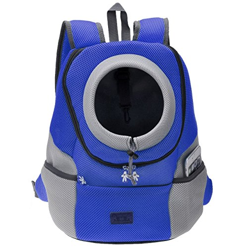 CozyCabin Latest Style Comfortable Dog Cat Pet Carrier Backpack Travel Carrier Bag Front for Small dogs Puppy Carrier Bike Hiking Outdoor (L, Blue)