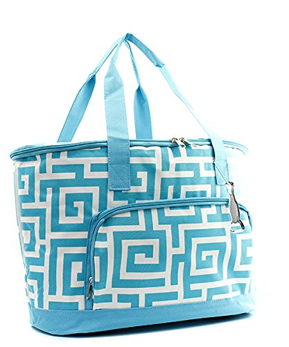 Greek Print Insulated Cooler Bag Aqua