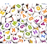 "Rockin Beads Brand, 450 Mixed White Acrylic Alphabet /Letter ""A-z"" Coin Spacer Beads 7x4mm Round Sold Per Pack of 450"