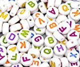 """Rockin Beads Brand, 450 Mixed White Acrylic Alphabet /Letter """"A-z"""" Coin Spacer Beads 7x4mm Round Sold Per Pack of 450"""