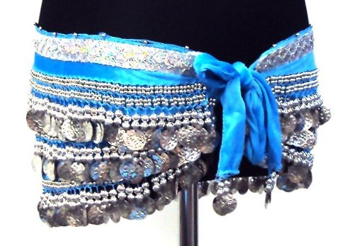 Professional Belly Dance 3 Rows Hip Scarf Belt Chain Velvet Skirt Wrap -- TURQUOISE