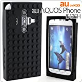 [au AQUOS Phone IS12SH専用]ブロックシリコンケース(ブラック)