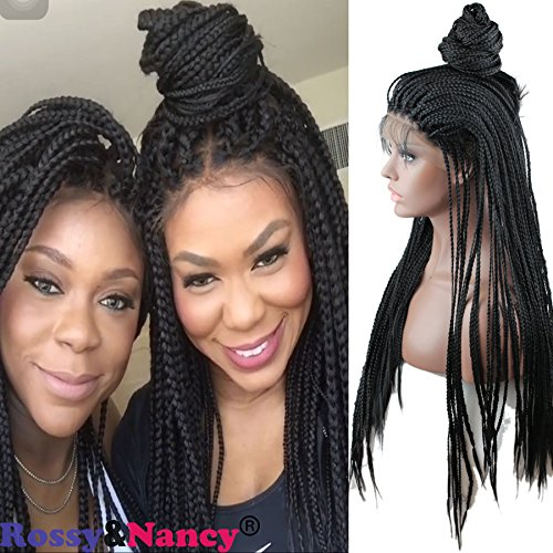 Rossy&Nancy Best Quality Lace Front Braid Wigs High Density Free Part Natural Black Color for Women (Braided Hair Wigs)
