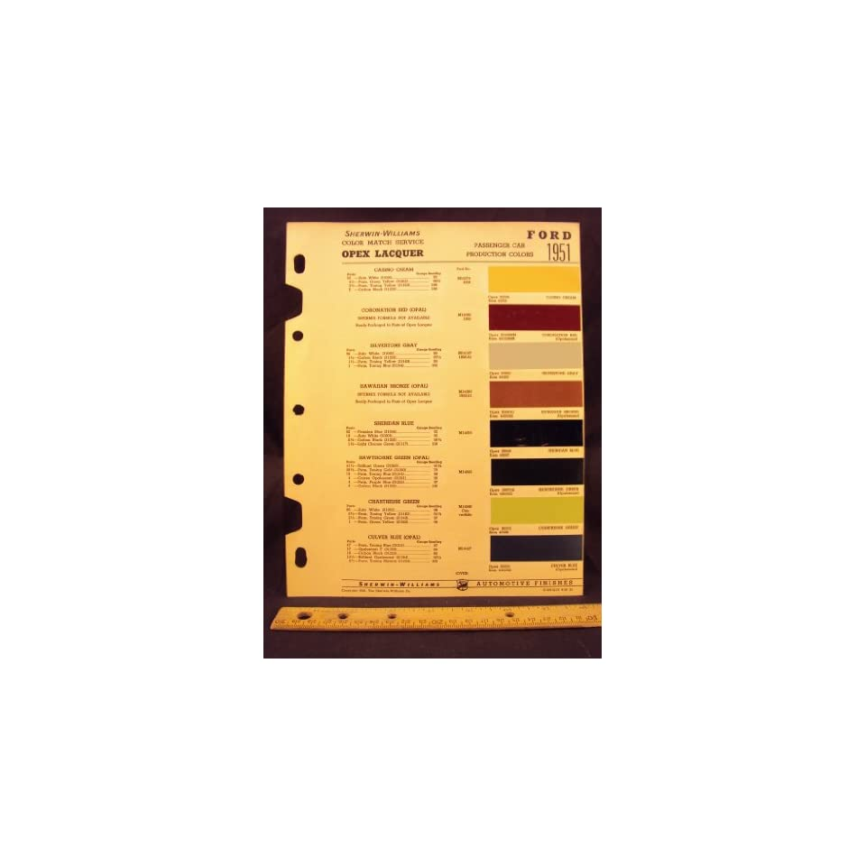 1951 ford paint colors chip page ford motor company for Ford motor paint colors