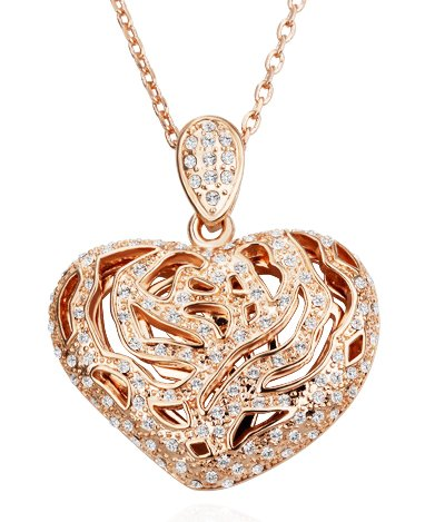 Rose Gold Plated Filigree Heart Shape Large Pendant Necklace With 18