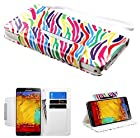 myLife Bright White + Rainbow Zebra Print {Modern Design} Faux Leather (Card, Cash and ID Holder + Magnetic Closing) Slim Wallet for Galaxy Note 3 Smartphone by Samsung (External Textured Synthetic Leather with Magnetic Clip + Internal Secure Snap In Closure Hard Rubberized Bumper Holder)