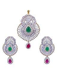 Gehna American Diamond, Big Size Ruby & Emerald Studded Pendant & Earring Set