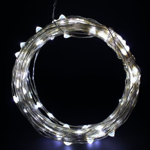 Sinollc 33Ft Cool White Copper Wire Led Starry Lights, 12V Dc Led String Light, Includes Power Adapter, With 100 Individual Leds, Diy Creative Novelty Led Light, Comes With Power Adapter