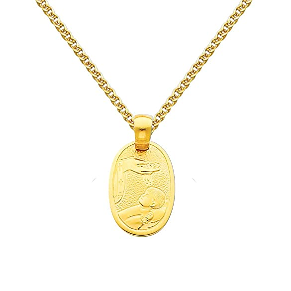 Jewels By Lux 14K Yellow or White Gold Baptism Cut-Out Pendant 15mm X 15mm