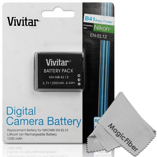 Vivitar En-El12 Ultra High Capacity 1200Mah Li-Ion Battery For Nikon Coolpix Aw100 Aw100S Aw110 Aw110S Aw120 S9700 S9500 S9300 S9200 S9100 S8200 S8100 S6300 P330 P310 P300 S1200Pj S1000Pj S620 S31 (Nikon En-El12 Replacement)