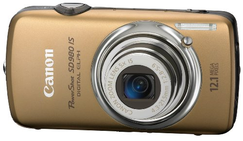 Canon PowerShot SD980IS 12MP Digital Camera with 5x Ultra Wide Angle Optical Image Stabilized Zoom and 3-inch LCD (Gold)