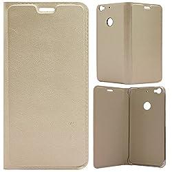 MACC Premium Leather Flip Case Flip Cover for LeTV Le 1s / LeEco Le 1S / LeTV Le 1S - GOLD