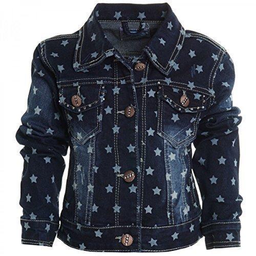 Kinder-Mdchen-Jeans-Jacke-Mantel-Kids-Stepp-Sweat-bergangs-Jacke-Blazer-20459-FarbeBlauGre104