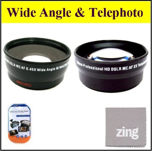 58Mm 2X Telephoto Lens + 58Mm 0.45X Wide Angle Lens With Macro For Canon Xa10 Xf100 Xf105 Professional Camcorder + Microfiber Cleaning Cloth + Lcd Screen Protectors