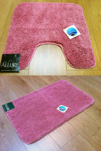 2 Piece Set Plain Supersoft Bathroom Pink Rose Bath Mat & Pedestal Toilet Mat Rubber Backed Non-Slip