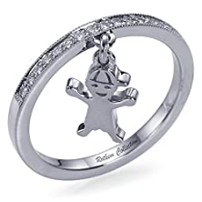 buy Special Sale! Baby Boy Charm On Diamond Wedding Band Ring Best Birthstone Gift New Mom White Gold