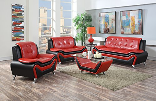 US Pride Furniture S5066-3PC+CT 4 Piece Modern Bonded Leather Sofa Set with Coffee Table, Sofa, Loveseat & Chair