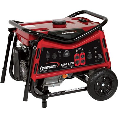 Powermate Portable Generator – 6250 Surge Watts, 5000 Rated Watts, CARB-Compliant, Model# PMC105007