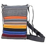 Mela Trendy, Crossbody Passport Travel Zip Sling Bag - Grey