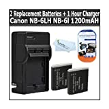 2 Pack Of Replacement Batteries For Canon NB-6L 1200MAH Each + Charger For Canon Powershot SX500 IS SD770IS SD980...