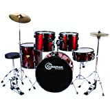 Drum Set Wine Red 5-Piece Complete Full Size with Cymbals Stands Stool Sticks