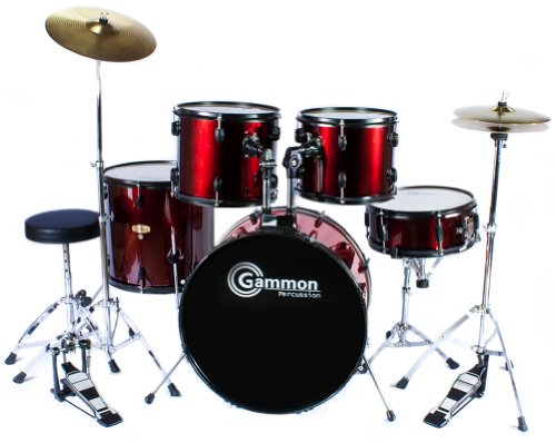 Drum Set Wine Red 5Piece Complete Full Size with Cymbals Stands Stool Sticks Picture