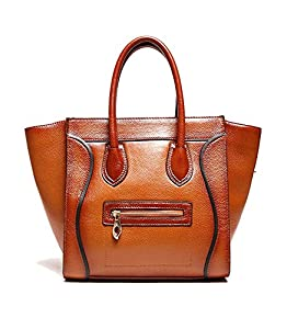Kattee Ladies Classic Genuine Leather Smile Face Handbag Tote Purse