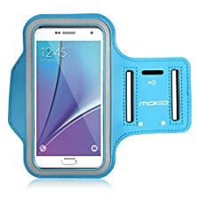 buy Galaxy S7 / S7 Edge Armband, Moko Sports Armband For Samsung Galaxy S7 / S7 Edge / Note 5 / S6 Edge+, Key Holder & Card Slot, Sweat-Proof, Light Blue (Compatible With Cellphones Up To 5.7 Inch)