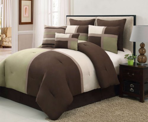 8 Pieces Luxury Suede Patchwork Bedding Sage Green/Brown/Tan Bed In A Bag Comforter Set Queen Size Bedding front-1064435