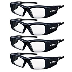 True Depth 3D® Firestorm XL Premium Quality DLP-LINK Rechargeable 3D Glasses with SteadySync (TM) Technology (4 Pairs)