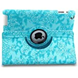 Auto Sleep/Wake Function 360 Degree Rotating Smart Case Cover for 9.7 inch Apple iPad 2, iPad 3, iPad 4, iPad 2nd, iPad 3rd, iPad 4th Generation AT&T Verizon with a Stylus as a Gift--Floral Pattern,Blue