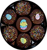Image of Chocolate Dipped Oreo Cookies Decorated for Easter with Easter Eggs and Chicks, Easter Gift