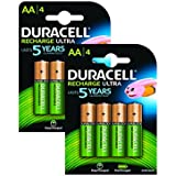 Duracell AA Pack de 8 Piles Rechargeables Pré-Chargées 2400 mAh