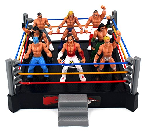 VT Mini Combat Action Wrestling Toy Figure Play Set w/ Ring, 8 Toy Figures (Wwe Figures Cheap compare prices)