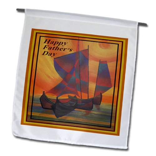 Taiche - Fathers Day - Sail Boat - Happy Fathers Day- father, fathers day, sailboat, sails, seascape, semi abstract, boat - 12 x 18 inch Garden Flag (fl_48464_1)