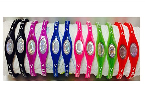 12-Power-Bands-Ion-Type-Sports-Bands-Small-Wristband-Black-Blue-Red-Purple-Pink-Green