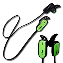 buy Vida It Vrun Sports Bluetooth 3.0 Earphones For Pantech - P4000 - Matrix Pro - Jest - P1000 Cell Phone Wireless Fitness Headset With Microphone - Volume Control (Black/Green)
