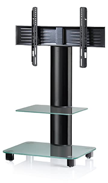 VCM Tosal Aluminium Frosted Glass with Glass Shelf TV Stand includes Role Set, Black