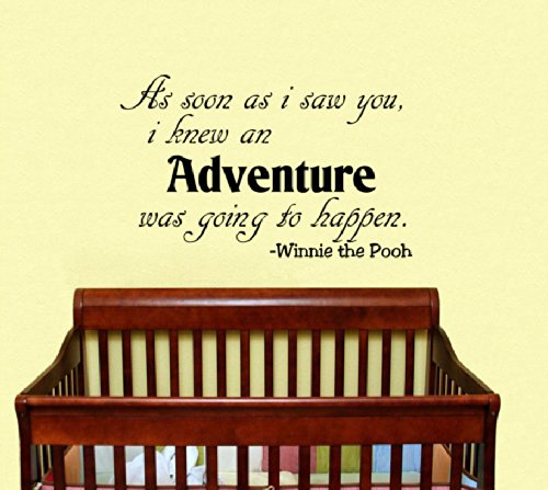 Housewares Vinyl Decal Winnie The Pooh Quote As Soon As I Saw You I Knew An Adventure Was Going To Happen Home Wall Art Decor Removable Stylish Sticker Mural Unique Design For Room Baby Kid Nursery front-154200