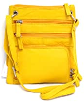 Iris Tyler Leather Sling Bag with Organizer (Yellow)