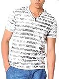 (スペイド) SPADE Tシャツ メンズ 半袖 総柄 花柄 ボーダー Vネック リゾート 【e153】 (XL, ボーダーグレー)