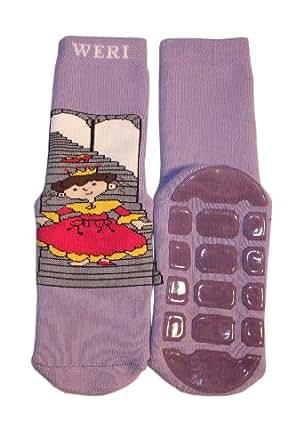 Weri Spezials ABS Enfants Peluche Princesse Pantoufle Chaussons Chaussettes Antiderapants 3-4 ans (23-26) Lilas