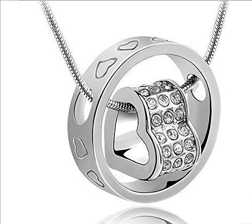 Silber Farbe Metall Jeweled Herzen gravierte Ring Halskette weißer Organza-Geschenk-Beutel (durch Northern Coast)