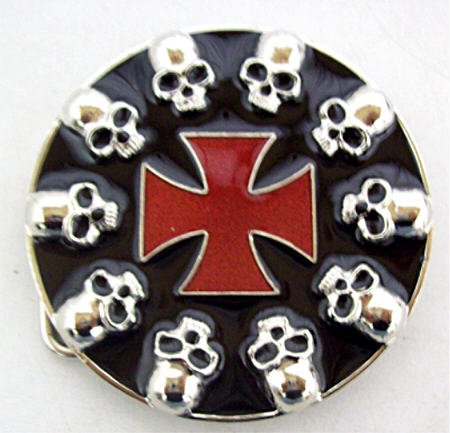 Black Skull & Iron Cross Belt Buckle Biker Goth