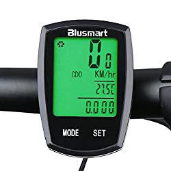 Blusmart ® Bike Computer With Waterproof Touch Mode 22 Functions Large Screen Display with Green Backlight Wired LCD Smart Odometer Bicycle Speedometer from Blusmart