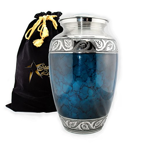 Star Legacy's Mediterranean Mystic - Blue Metal Cremation Adult Urn for Human Ashes w Velvet Bag (Ashes Urn compare prices)